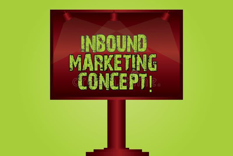 Tekstteken die Binnenkomend Marketing Concept tonen Conceptuele fotostrategie die zich bij het aantrekken van Aangestoken klanten stock illustratie