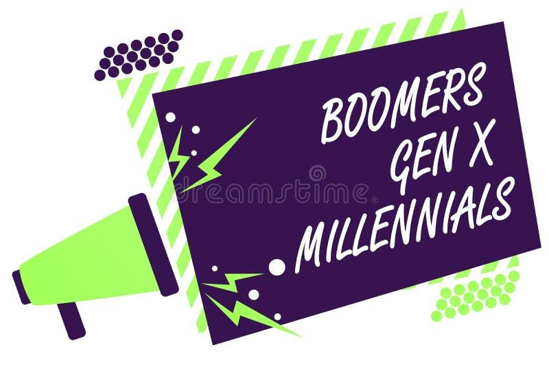 Tekstteken die Boomers Gen X Millennials tonen De conceptuele foto dacht over het algemeen na om ongeveer dertig van de Megafoonj royalty-vrije stock afbeeldingen