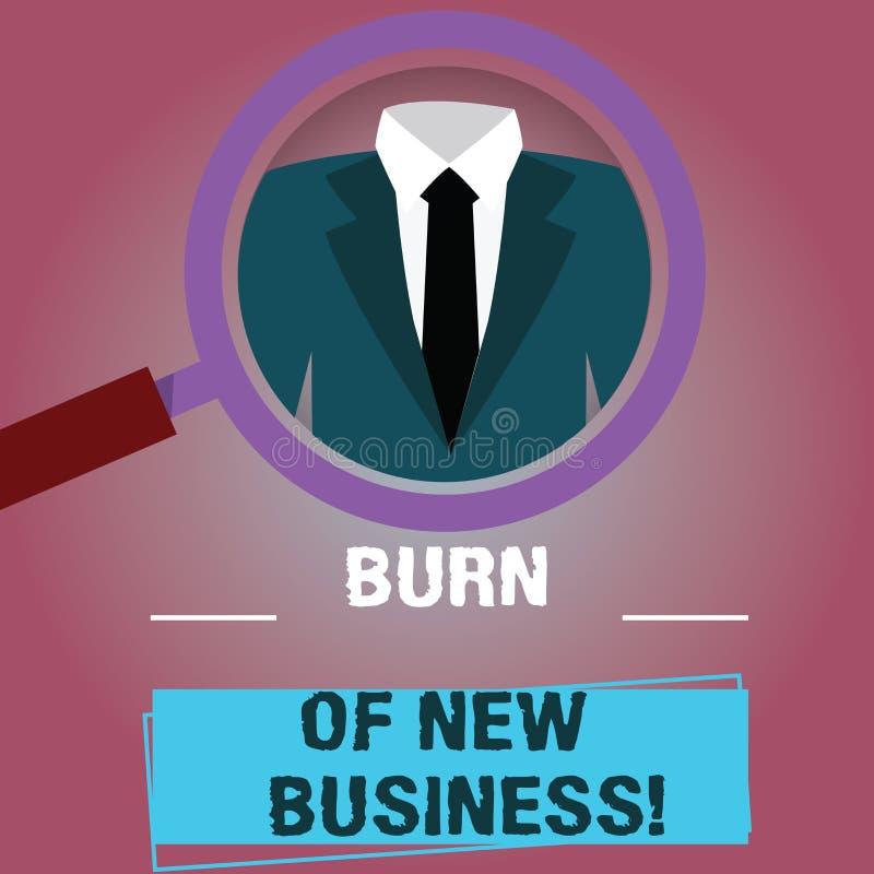 Tekstteken die Brandwond van Nieuwe Zaken tonen De conceptuele fotohoeveelheid maandelijks contant geldgeld het bedrijf besteedt  vector illustratie