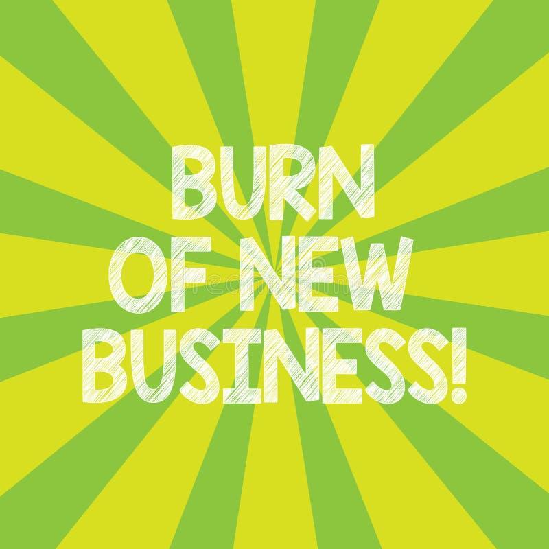 Tekstteken die Brandwond van Nieuwe Zaken tonen De conceptuele fotohoeveelheid maandelijks contant geldgeld het bedrijf besteedt  royalty-vrije illustratie