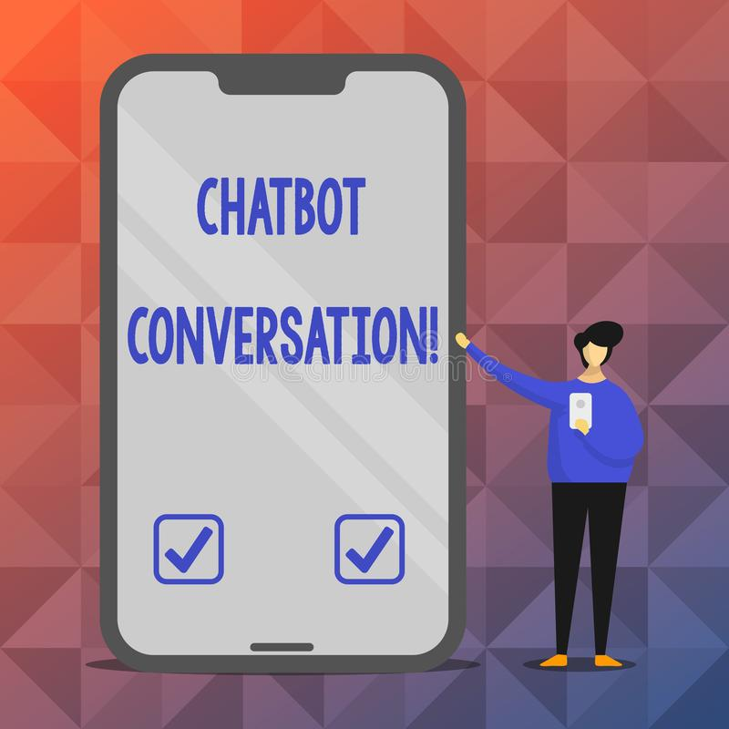 Tekstteken die Chatbot-Gesprek tonen Conceptuele foto die met virtuele hulpkunstmatige intelligentie babbelen vector illustratie