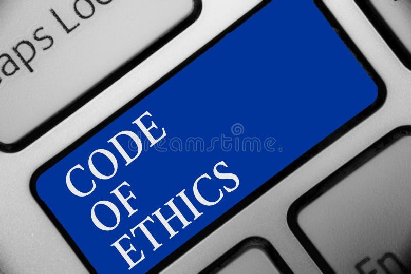 Tekstteken die Code van Ethiek tonen Conceptueel van de de Integriteitseerlijkheid van foto Moreel Regels Ethisch Goed de procedu stock illustratie
