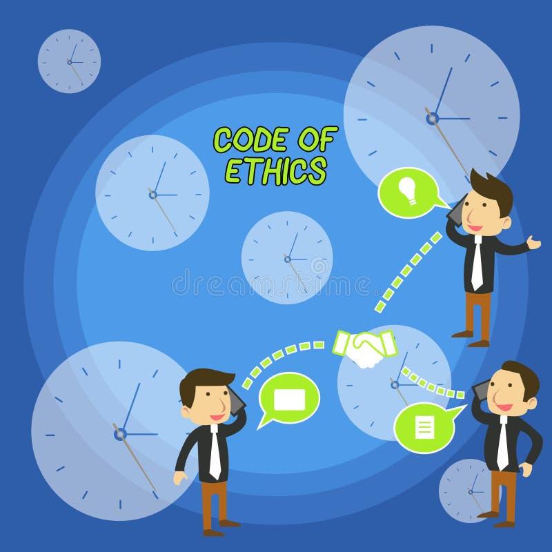 Tekstteken die Code van Ethiek tonen De conceptuele foto basisgids voor professioneel gedrag en legt plichtenzakenlieden op stock illustratie