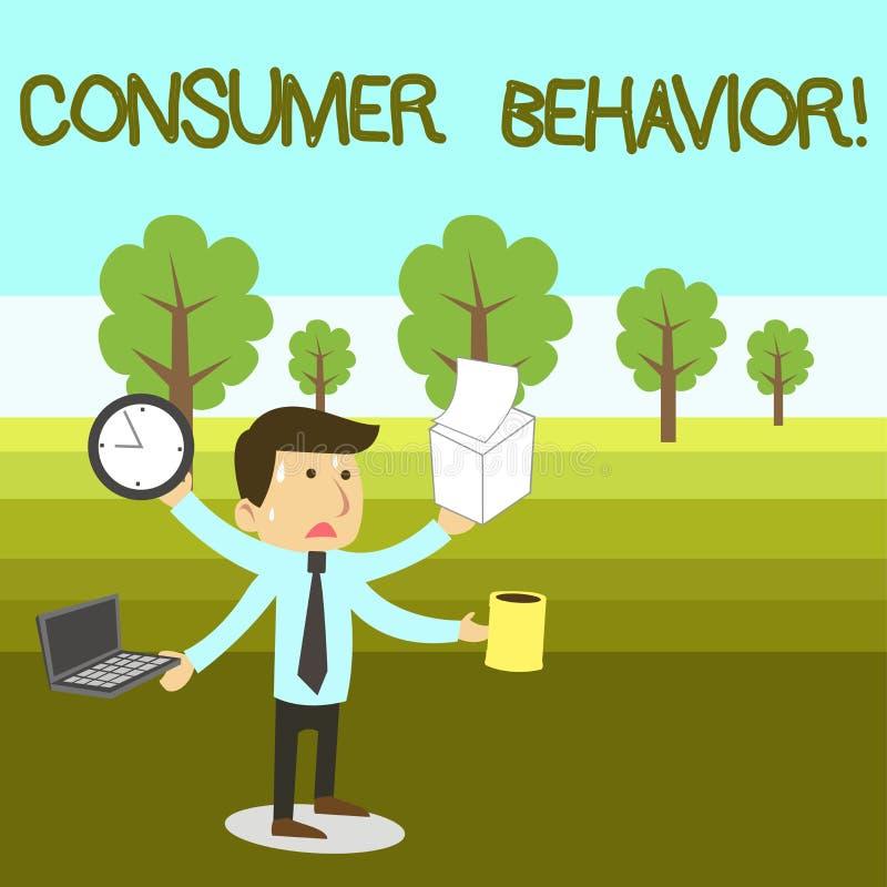 Tekstteken die Consumentengedrag tonen Conceptuele fotostudie van hoe de individuele klanten met het merk interactie aangaat royalty-vrije illustratie