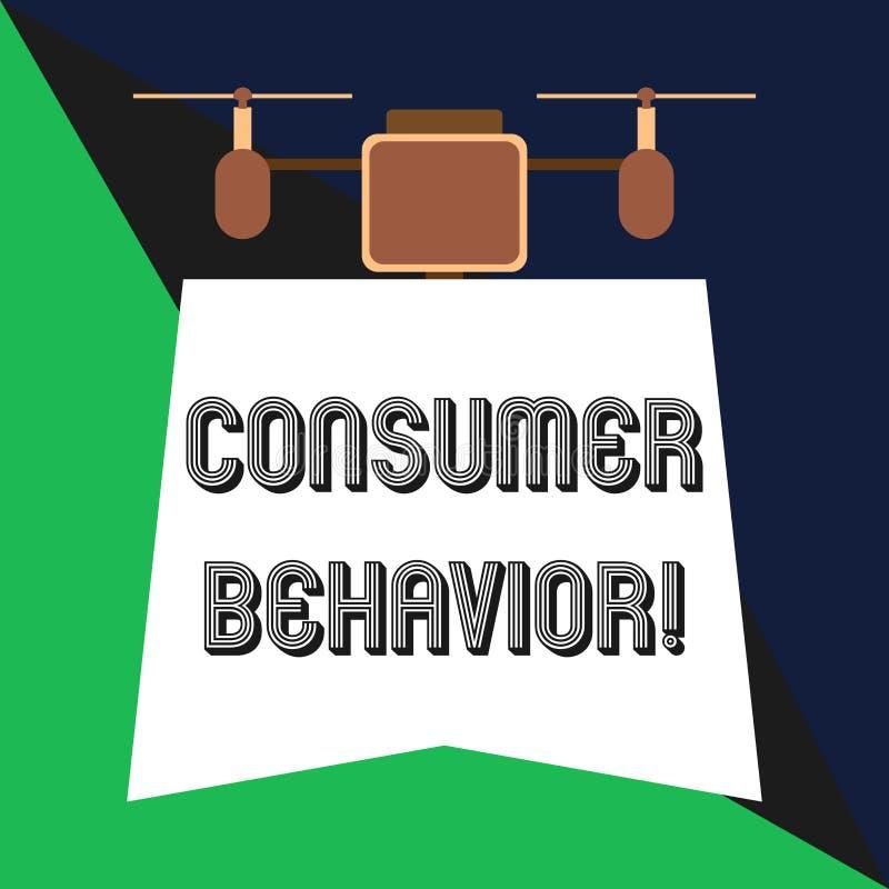 Tekstteken die Consumentengedrag tonen Conceptuele fotostudie van hoe de individuele klanten met de merkhommel interactie aangaat royalty-vrije illustratie