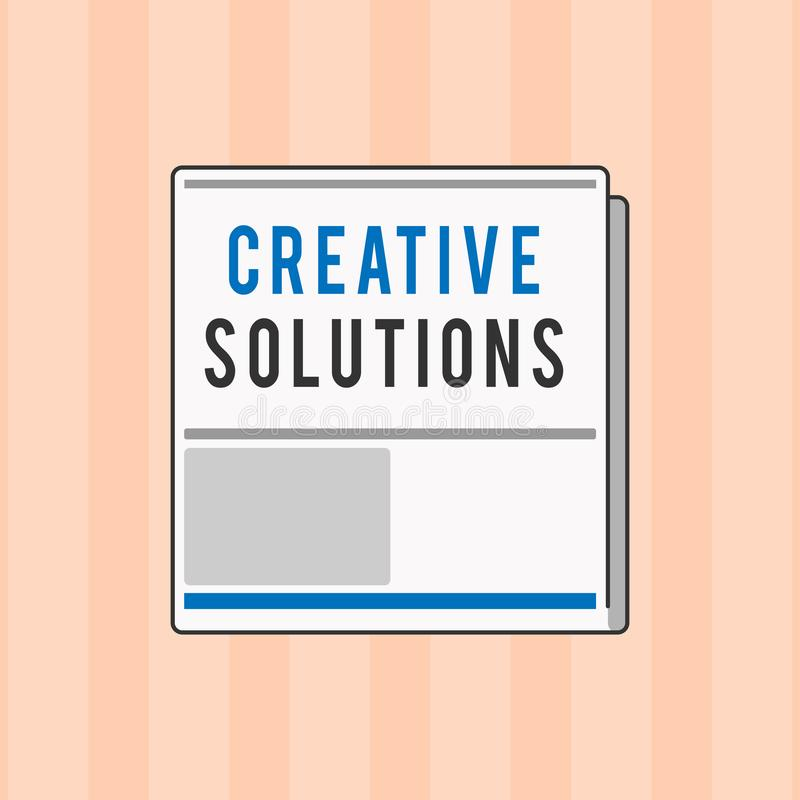 Tekstteken die Creatieve Oplossingen tonen Conceptuele foto Originele en unieke benadering in het oplossen van een probleem royalty-vrije illustratie