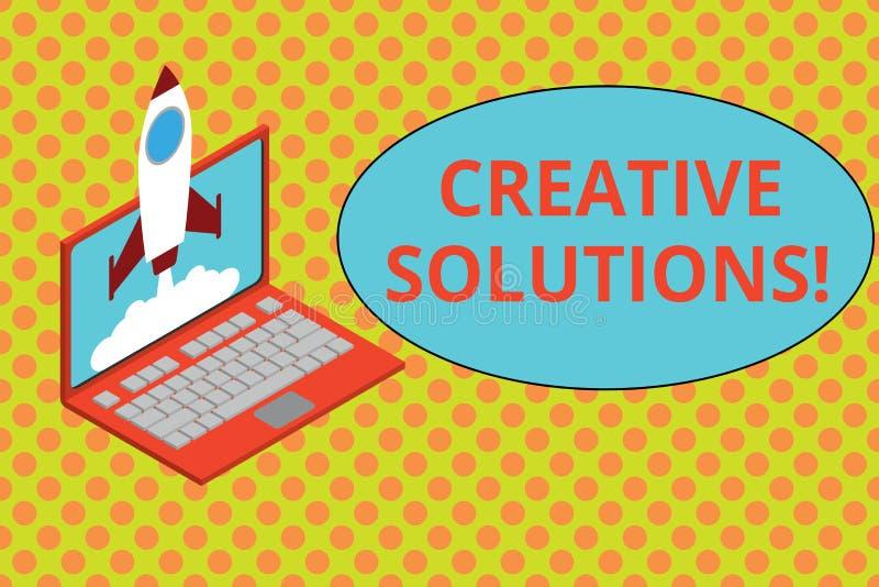 Tekstteken die Creatieve Oplossingen tonen Conceptuele foto Originele en unieke benadering in het oplossen van een probleemraket vector illustratie