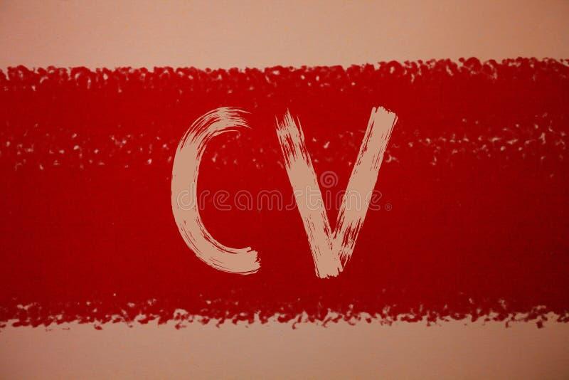 Tekstteken die Cv tonen Het conceptuele fotocurriculum vitae hervat de berichtenrood van Infographics Job Searching Employee Recr stock foto's