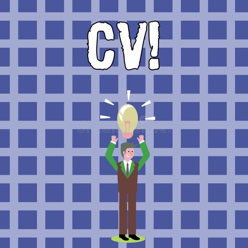 Tekstteken die Cv tonen Het conceptuele fotocurriculum vitae hervat Infographics-Baan Zoekend Werknemersrekrutering stock illustratie
