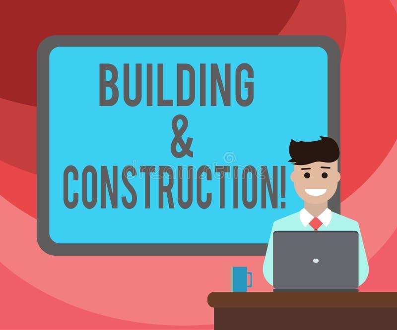 Tekstteken die de Bouw en Bouw tonen Conceptuele foto het werk van de bouw van of het maken van iets Leeg Gegrenst stock illustratie