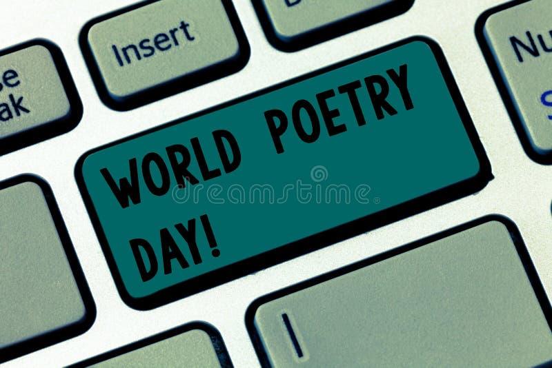 Tekstteken die de Dag van de Wereldpoëzie tonen Conceptuele van de de vieringslezing van de fotoliteratuur van de de boekentijd h royalty-vrije stock afbeeldingen
