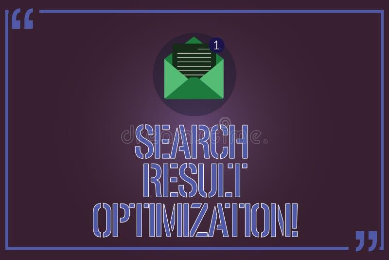 Tekstteken die de Optimalisering van het Zoekenresultaat tonen Conceptueel foto groeiend zicht in de Open Envelop van zoekmachine stock illustratie