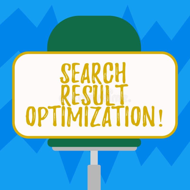 Tekstteken die de Optimalisering van het Zoekenresultaat tonen Conceptueel foto groeiend zicht in de Spatie van zoekmachineresult vector illustratie