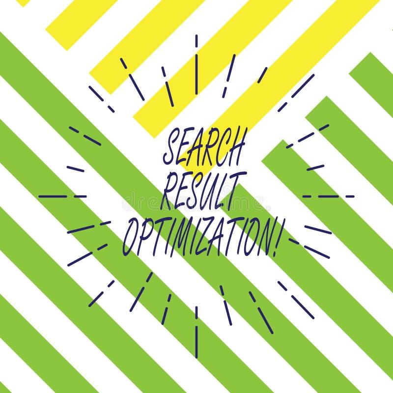 Tekstteken die de Optimalisering van het Zoekenresultaat tonen Het conceptuele foto groeiende zicht in zoekmachineresultaten rich royalty-vrije illustratie