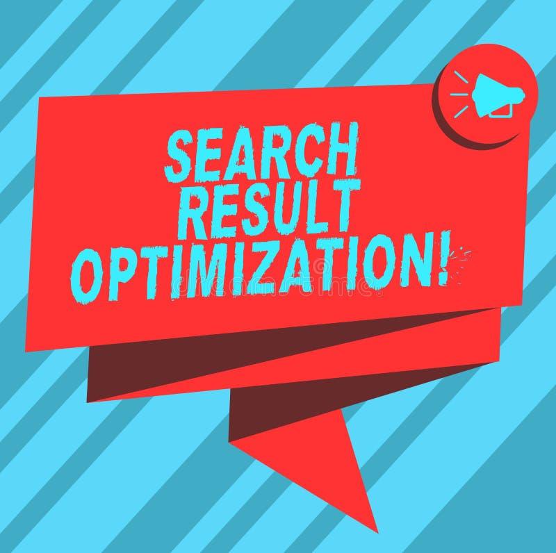 Tekstteken die de Optimalisering van het Zoekenresultaat tonen Het conceptuele foto groeiende zicht in zoekmachineresultaten vouw vector illustratie