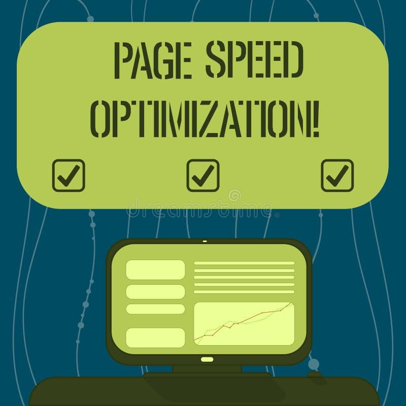 Tekstteken die de Optimalisering van de Paginasnelheid tonen De conceptuele foto verbetert de snelheid van inhoudslading in een O stock illustratie