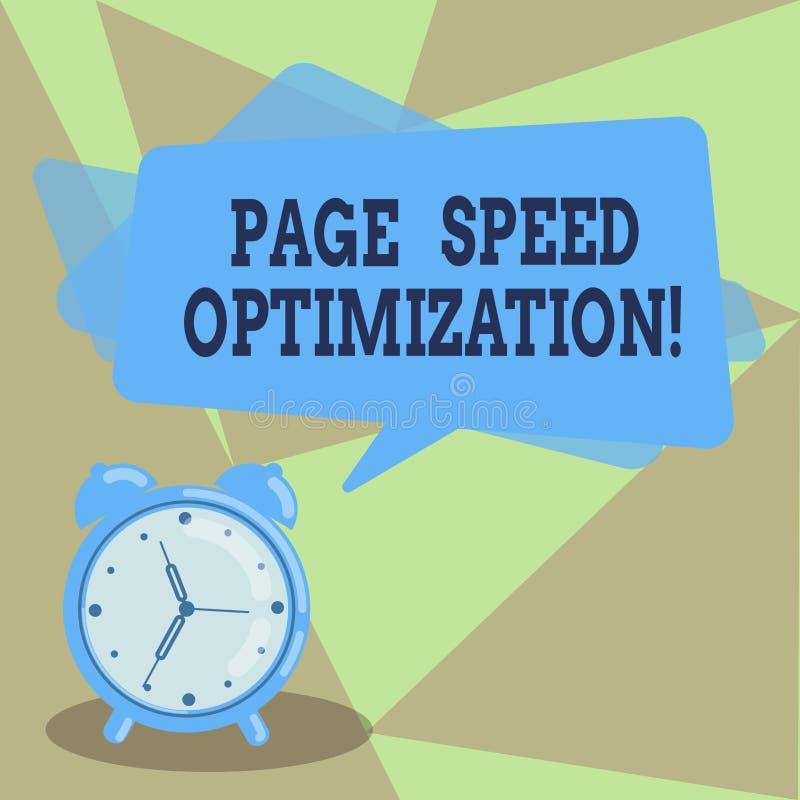 Tekstteken die de Optimalisering van de Paginasnelheid tonen De conceptuele foto verbetert de snelheid van inhoudslading in een w royalty-vrije illustratie