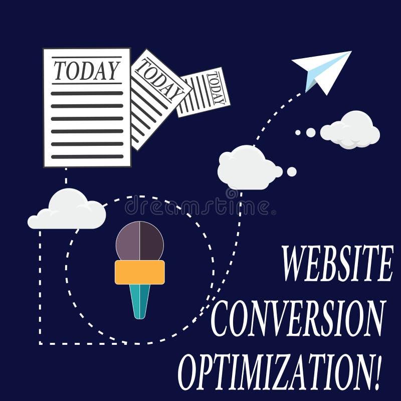 Tekstteken die de Optimalisering van de Websiteomzetting tonen Conceptueel fotosysteem om de Informatie van websitebezoekers te v vector illustratie