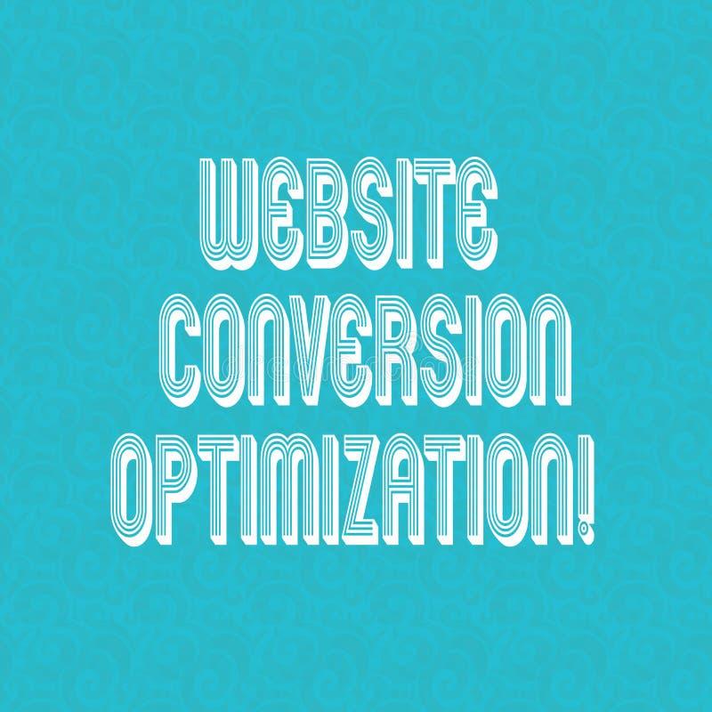 Tekstteken die de Optimalisering van de Websiteomzetting tonen Conceptueel fotosysteem voor stijgende Halftone websitebezoekers royalty-vrije illustratie
