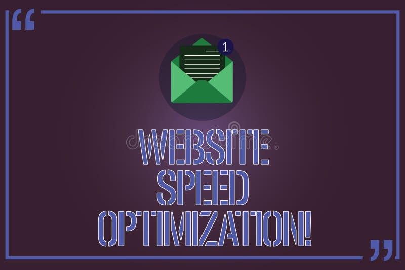 Tekstteken die de Optimalisering van de Websitesnelheid tonen De conceptuele foto verbetert websitesnelheid om bedrijfs Open doel vector illustratie