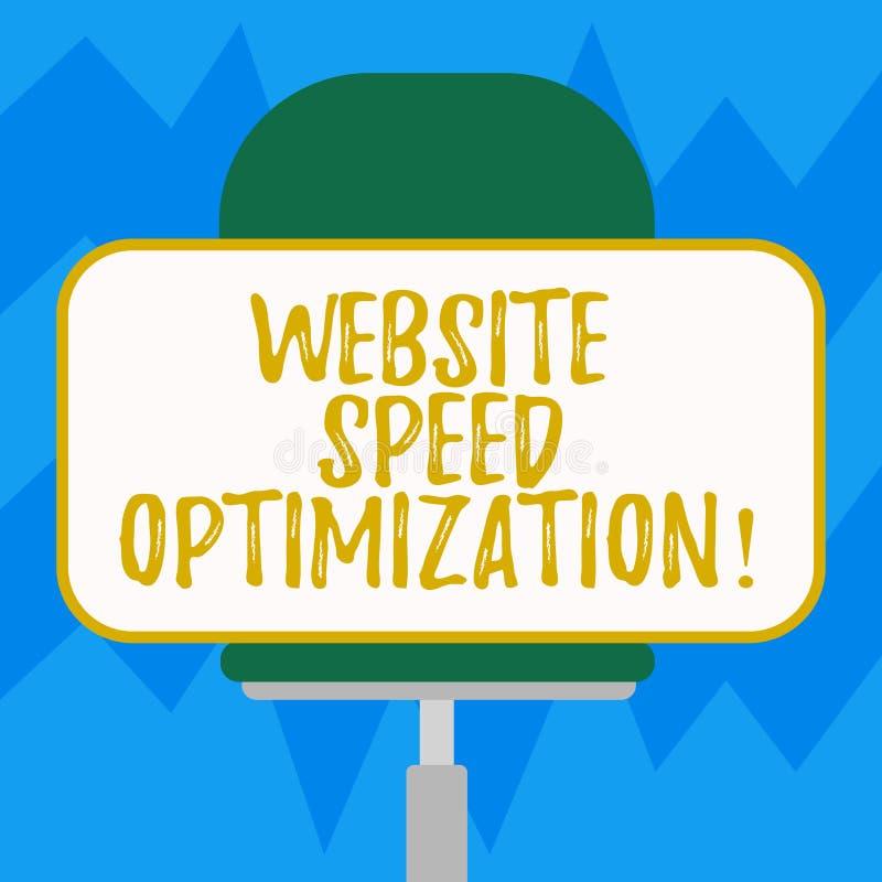 Tekstteken die de Optimalisering van de Websitesnelheid tonen De conceptuele foto verbetert websitesnelheid om bedrijfsdoelstelli vector illustratie