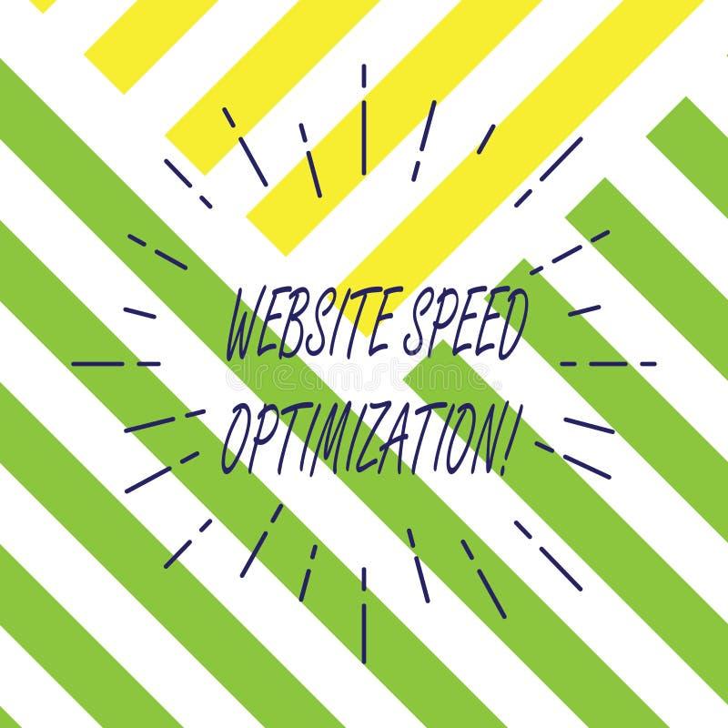 Tekstteken die de Optimalisering van de Websitesnelheid tonen De conceptuele foto verbetert websitesnelheid om bedrijfsdoelstelli royalty-vrije illustratie