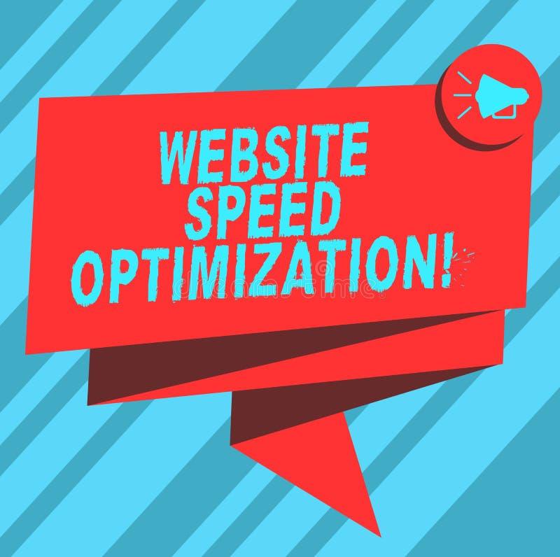 Tekstteken die de Optimalisering van de Websitesnelheid tonen De conceptuele foto verbetert websitesnelheid om bedrijfsdoelstelli stock illustratie