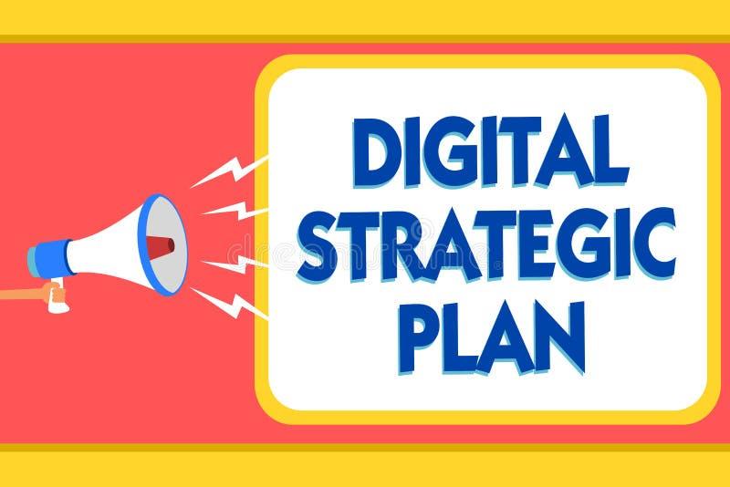 Tekstteken die Digitaal Strategisch Plan tonen De conceptuele foto leidt tot programma voor de marketing van product of merkberic vector illustratie