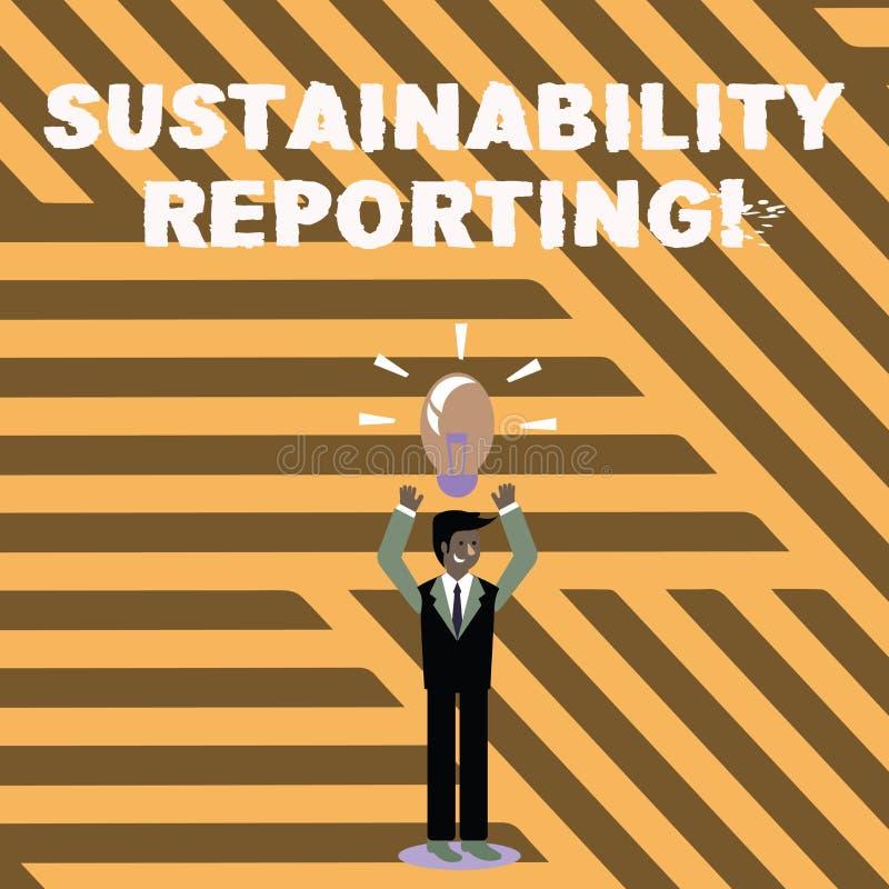 Tekstteken die Duurzaamheid Rapportering tonen De conceptuele foto geeft informatie economische milieuperforanalysisce royalty-vrije illustratie
