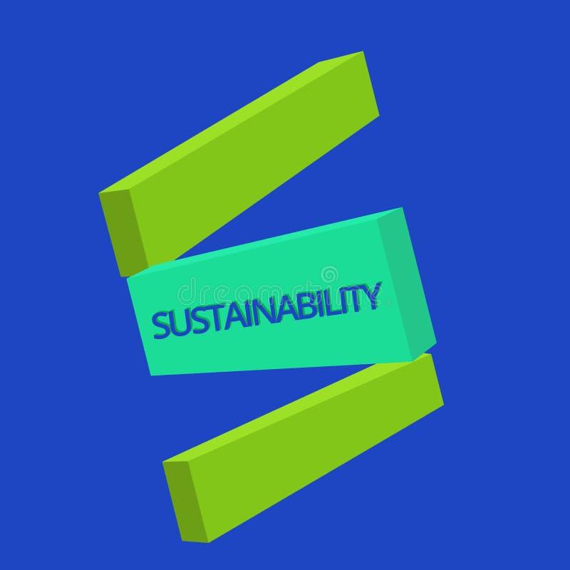 Tekstteken die Duurzaamheid tonen Conceptuele foto de capaciteit dat op een bepaald tarief en een niveau moet worden gehandhaafd stock illustratie