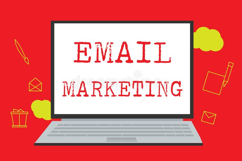 Tekstteken die E-mail Marketing tonen Conceptuele foto die een commercieel bericht verzenden naar een groep die mensen post gebru vector illustratie