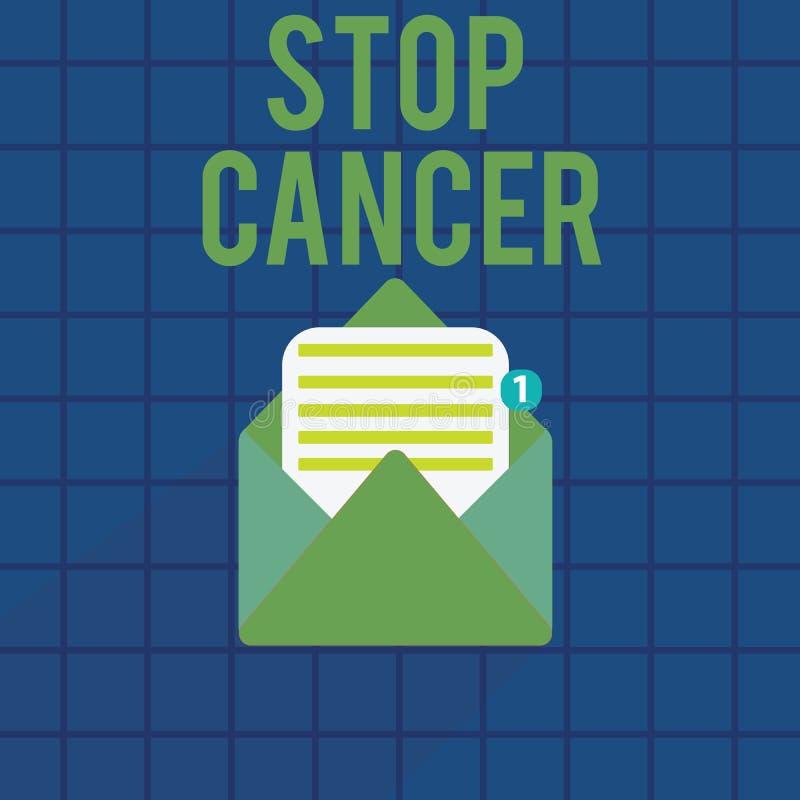 Tekstteken die Eindekanker tonen Conceptuele fotopraktijk van het treffen van actieve maatregelen om het tarief van kanker te sni royalty-vrije illustratie