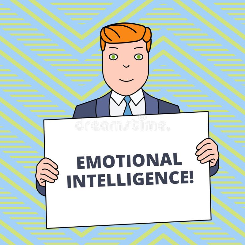 Tekstteken die Emotionele Intelligentie tonen Conceptuele het Handvatverhoudingen die van de foto Zelf en Sociale Voorlichting go royalty-vrije illustratie