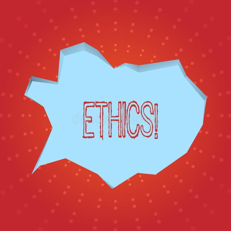 Tekstteken die Ethiek tonen Conceptuele foto die gelijkheidsevenwicht handhaven die onder andere morele principes hebben vector illustratie
