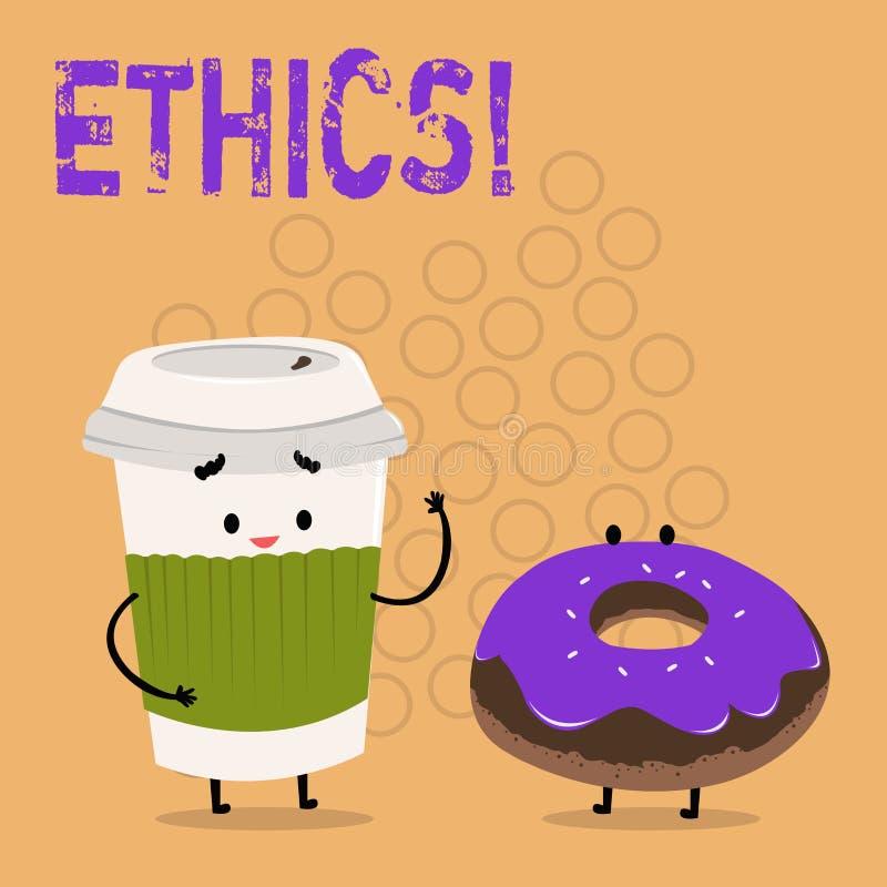 Tekstteken die Ethiek tonen Conceptuele foto die gelijkheidsevenwicht handhaven die onder andere morele principes hebben royalty-vrije illustratie