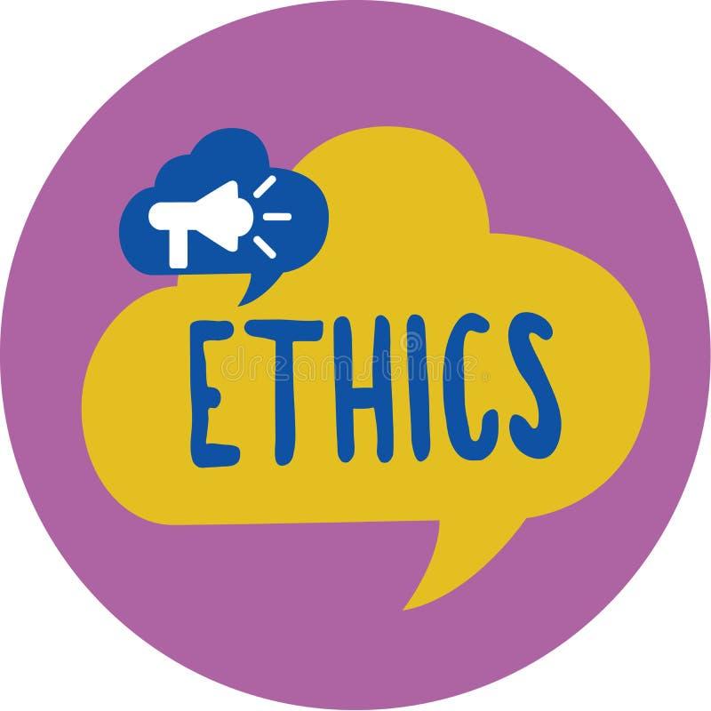 Tekstteken die Ethiek tonen Conceptuele foto morele principes die persoonsgedrag of het uitvoeren van activiteit regeren stock illustratie
