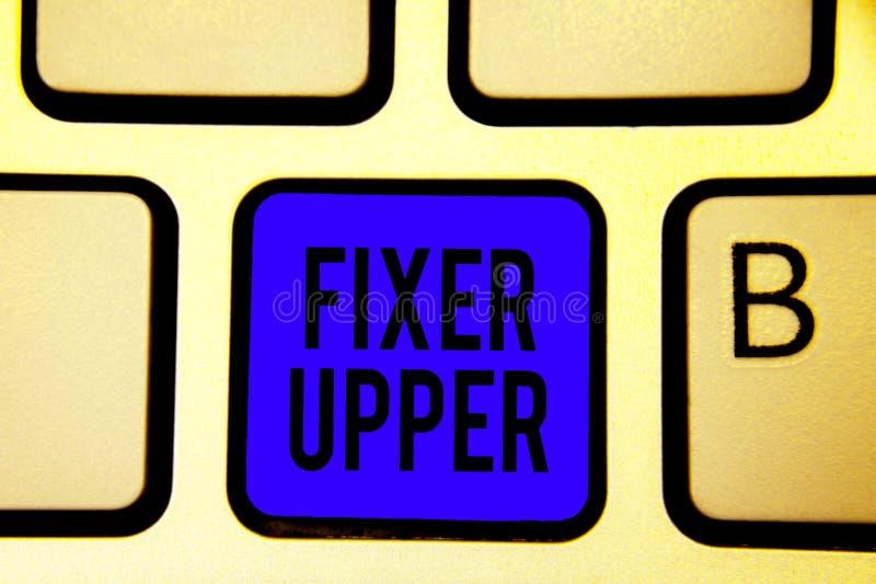 Tekstteken die Fixeerstof tonen - bovenleer Het conceptuele fotohuis met behoefte aan reparaties gebruikte voornamelijk verbindin stock fotografie