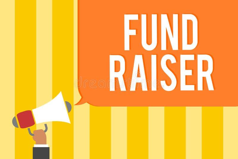Tekstteken die Fonds tonen - fokker De conceptuele fotopersoon van wie baan of de taak is zoekt financiële steun voor de holdings royalty-vrije illustratie
