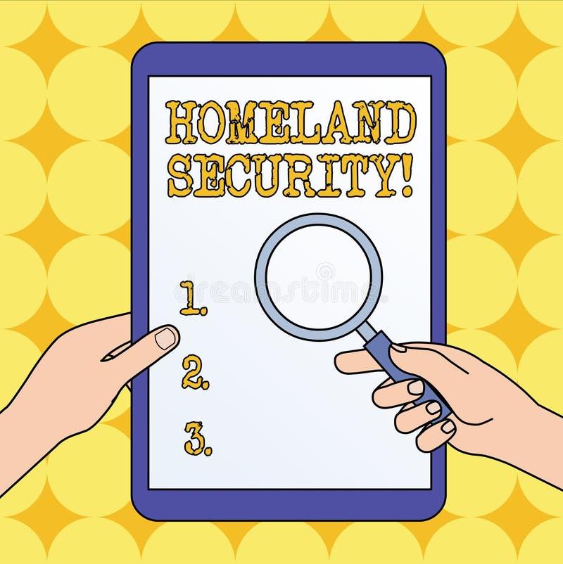 Tekstteken die Geboortelandveiligheid tonen Conceptueel foto federaal die agentschap wordt gebouwd om de V.S. tegen bedreigingenh stock illustratie