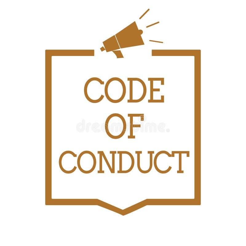 Tekstteken die Gedragscode tonen De conceptuele fotoethiek beslist Megafoon van de de waardeneerbied van zedenwetten de ethische  royalty-vrije illustratie