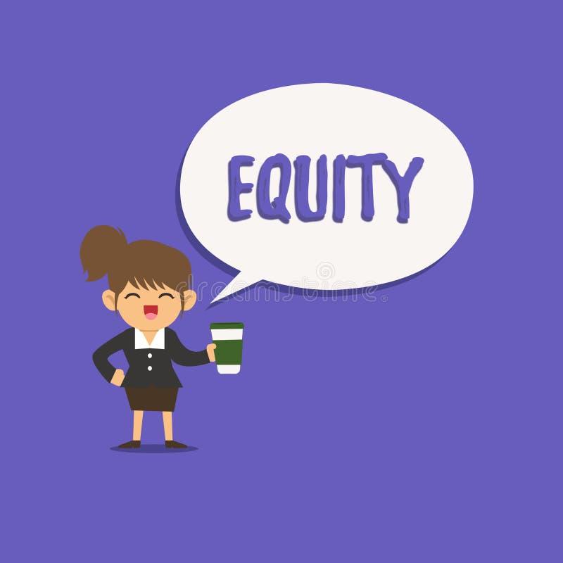 Tekstteken die Gelijkheid tonen De conceptuele fotowaarde van een bedrijf verdeelde in gelijke die delen door aandeelhouders word royalty-vrije illustratie