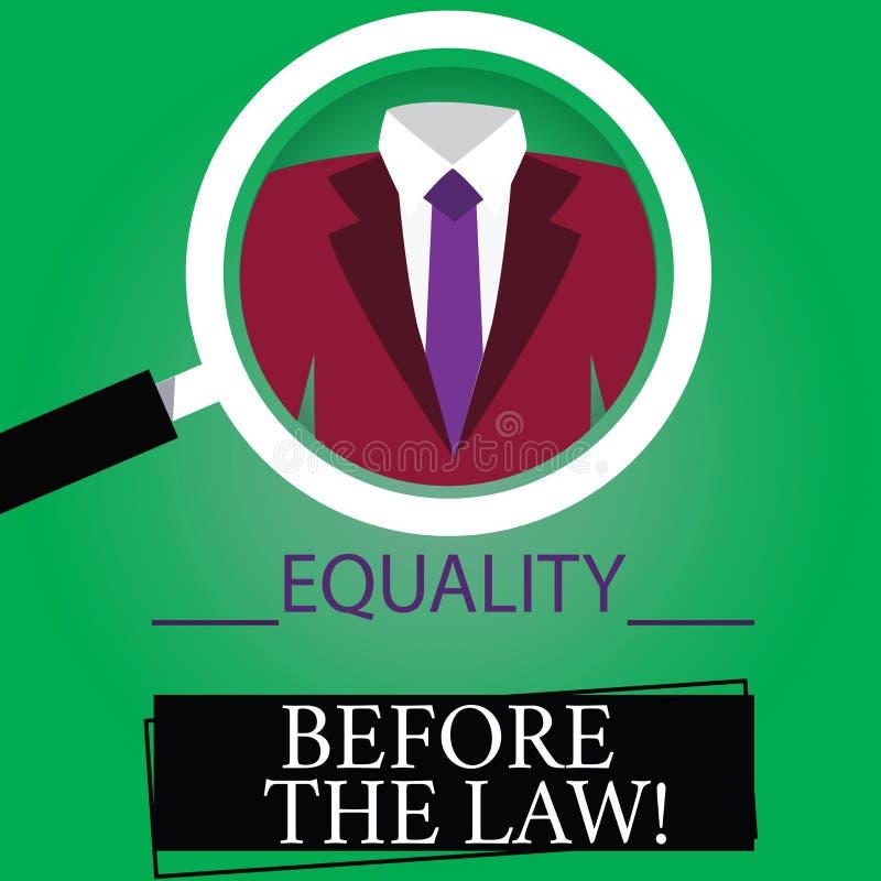 Tekstteken die Gelijkheid tonen vóór de Wet De conceptuele van de het saldobescherming van de fotorechtvaardigheid gelijke rechte royalty-vrije illustratie