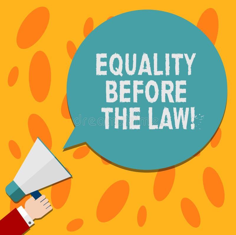 Tekstteken die Gelijkheid tonen vóór de Wet De conceptuele van de het saldobescherming van de fotorechtvaardigheid gelijke rechte stock illustratie