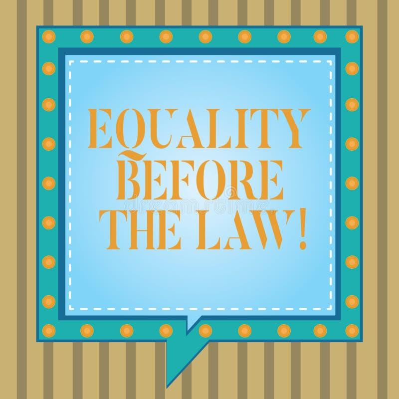 Tekstteken die Gelijkheid tonen vóór de Wet De conceptuele van de het saldobescherming van de fotorechtvaardigheid gelijke rechte vector illustratie