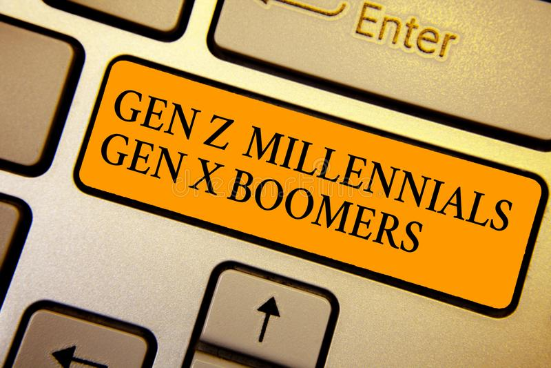 Tekstteken die Gen Z Millennials Gen X Boomers tonen Conceptuele van de verschillen Oude Jongeren van fotogenerational het Toetse stock fotografie