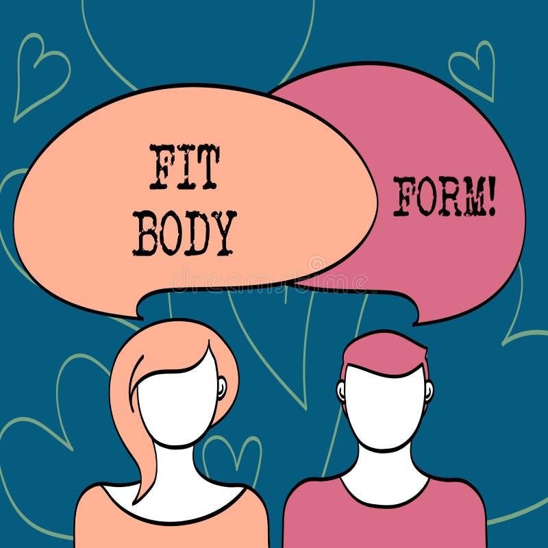 Tekstteken die Geschikte Lichaamsvorm tonen Conceptueel foto Perfect die silhouet door oefening te doen en op dieet te zijn wordt vector illustratie