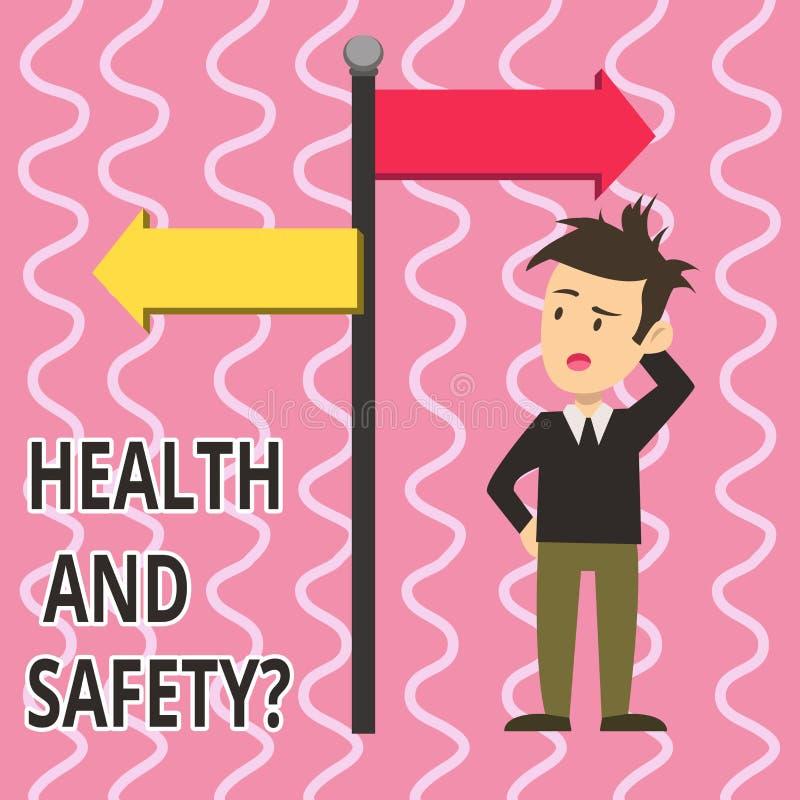 Tekstteken die Gezondheid en Veiligheidsvraag tonen Conceptuele fotoverordeningen en procedures om ongeval of verwonding te verhi royalty-vrije illustratie