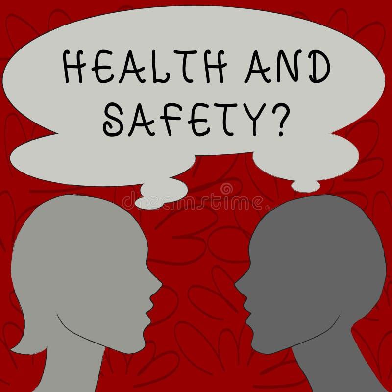 Tekstteken die Gezondheid en Veiligheidsvraag tonen Conceptuele fotoverordeningen en procedures om ongeval of verwonding te verhi vector illustratie
