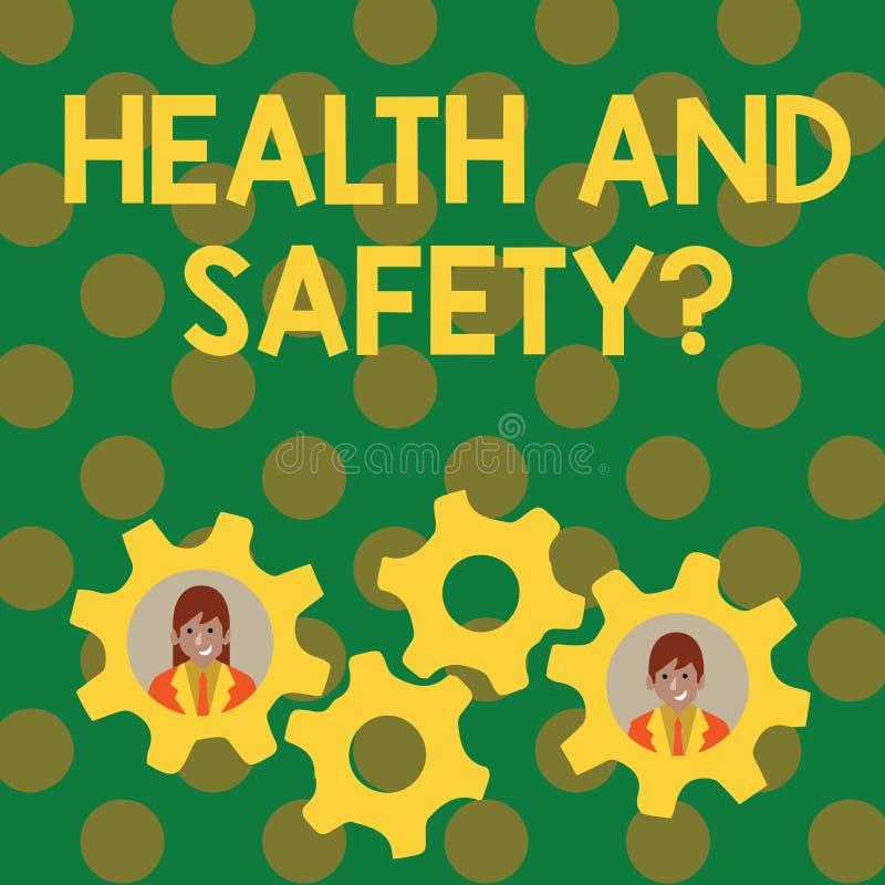 Tekstteken die Gezondheid en Veiligheidsvraag tonen De conceptuele de fotoverordeningen en procedures bedoelden ongeval te verhin royalty-vrije illustratie