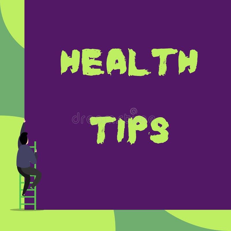Tekstteken die Gezondheidsuiteinden tonen Conceptuele die fotoadvies of informatie nuttig wordt gegeven om te zijn in het zijn ge vector illustratie